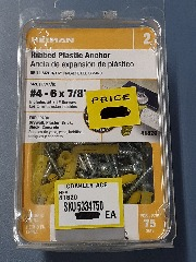#4 - 6 x 7\/8 Ribbed Plastic Anchor