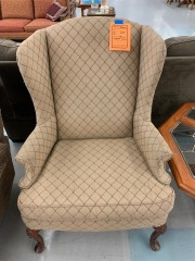 Tan Diamond Pattern Wingback Chair item 198