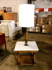 White Marble Top Table and Lamp