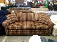 Tan and Burgundy Stripped Sofa Sleeper