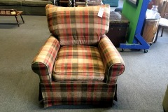 Checkered Upholstered Sitting Chair