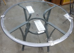 Outdoor Glass and Metal Patio Table