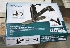 Pull-Out Spray Kitchen Faucet - Rubbed Bronze (Teapot Style)