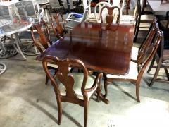 Walnut Finish Dining Room Table with 6 Chairs and 2 Leaves