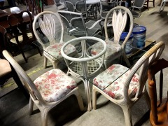 Glass Top Wicker Dining Room Set with 4 Chairs