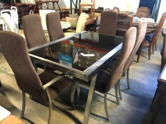 Modern Glass Top Mechanical Dining Table with 6 Chairs