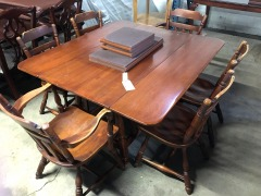 Double Drop Leaf Dining Table with 6 Chairs