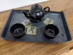 TEAPOT WITH TWO CUPS & TRAY