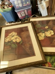 Two piece matted framed art