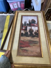 French countryside matted framed art