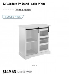 Modern TV Stand in white with sliding door