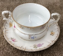 Hand Painted German Porcelain Cup and Saucer Set