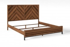 King Chevron Pattern Parquet Bed