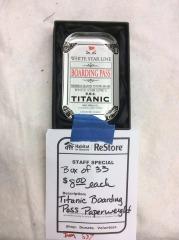 Titanic Boarding Pass Paperweight