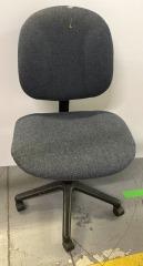 Armless office chair grayish blue fabric
