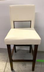 White w\/dark wood open back bar stool