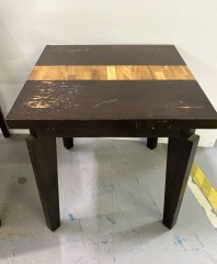 Small Wooden end table with parquet inlay design