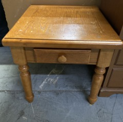 Oak End Table with Small Drawer