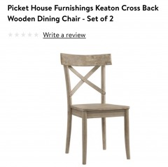 Keaton cross back wooden dining chairs