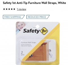 Safety 1st Anti-Tip Furniture Wall Straps, White
