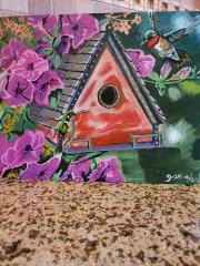 Bird House with Hummingbirds