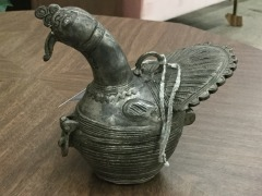 Vintage Dhkra Hand Cast Brass Peacock - COLLECTIBLES