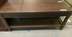 Charleston Wood Framed Wicker Rectangle Shelf Bench