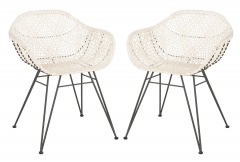 NEW Jadis Leather Woven Dining Chair