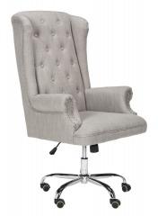NEW Ian Linen Chrome Leg Swivel Office Chair
