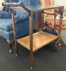 Wooden Rolling Bar Cart