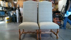 PAIR OF GREEN TALL BACK CHAIRS