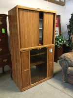 Oak Media Cabinet with Swivel\/Sliding TV Base