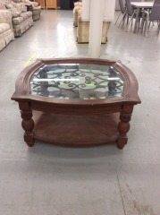 Large Wood, Metal, Glass Coffee Table