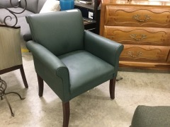 Green Leather Arm Chair - BETTER\/NEW FURNITURE