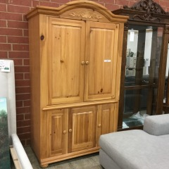 Pickled Pine TV Armoire- GENTLY USED FURNITURE
