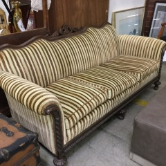 Brown & Gold Stripe Victorian Sofa - gently used furniture