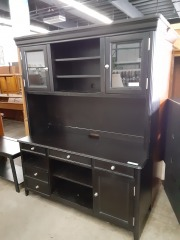 Brown wood entertainment center