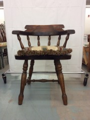 Rustic Dark Wood Chair with Pillow Cushion