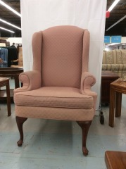 Salmon Pink Wingback Chair