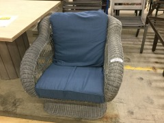 Grey Wicker Chair with Blue Cushions - GENTLY USED FURNITURE