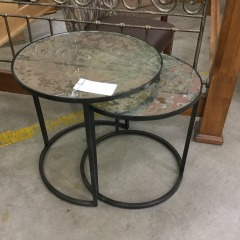 2 Nesting Tables with Antiqued Glass - As Is - BETTER\/NEW FURNITURE