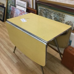 Vintage Gateleg Yellow Formica Table - COLLECTIBLES