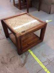 Square Oak Coffee Table with Glass