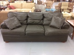 Olive Leather Thomasville Sofa