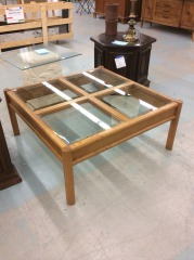 Square Coffee Table with Glass Inserts