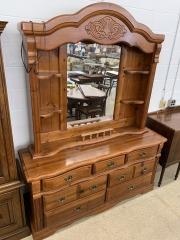Solid Pine 7 Drawer Dresser with Mirror