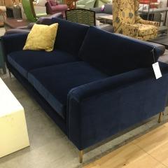 Navy Blue Plush Modern Sofa - BETTER\/NEW FURNITURE