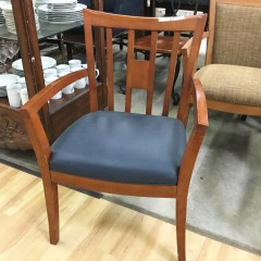 Navy Vinyl Arm Chair - GENTLY USED FURNITURE