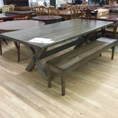 Bassett Bench made 90\u201d Dining Table with bench - BETTER\/NEW FURNITURE