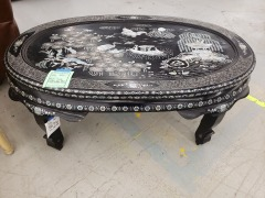 Black Coffee Table with Mother of Pearl Inlay